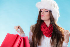 Mujer del invierno con los panieres de papel rojos Fotos de archivo libres de regalías