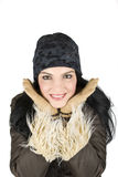 Mujer del invierno con sonrisa grande Foto de archivo libre de regalías