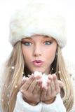 Mujer del invierno de la Navidad imagen de archivo