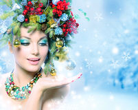 Mujer del invierno de la Navidad Foto de archivo