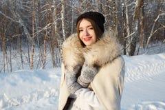 Mujer del invierno en día de invierno frío que nieva Fotografía de archivo libre de regalías