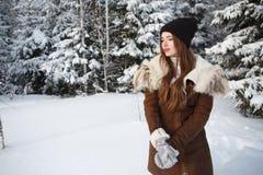 Mujer del invierno en día de invierno frío que nieva Fotos de archivo