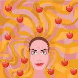 Mujer del jengibre con las manzanas en pelo Imagen de archivo libre de regalías
