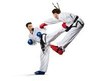 Mujer del karate en la acción aislada en blanco Imagen de archivo libre de regalías