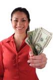 Mujer del Latino con el dinero Fotografía de archivo