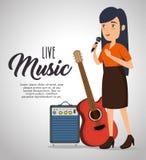 Mujer del músico en concierto stock de ilustración