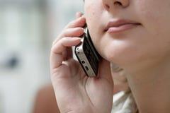 Mujer del módulo de escucha Imagenes de archivo