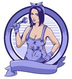 Mujer del mecánico y fondo del círculo stock de ilustración