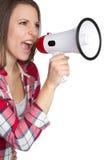 Mujer del megáfono Imagen de archivo libre de regalías