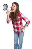 Mujer del megáfono Foto de archivo libre de regalías