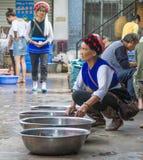 Mujer del mercado del chino tradicional Foto de archivo