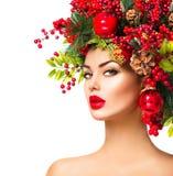 Mujer del modelo de moda de la Navidad Imagen de archivo