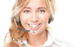 Mujer del operador de centro del servicio de atención al cliente y de llamada. Fotos de archivo
