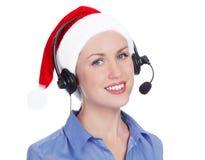Mujer del operador de la Navidad Fotos de archivo