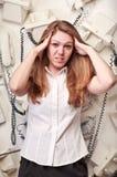 Mujer del operador en pánico Fotografía de archivo libre de regalías