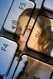 Mujer del ordenador Fotografía de archivo