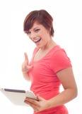 Mujer del ordenador de la tableta Foto de archivo