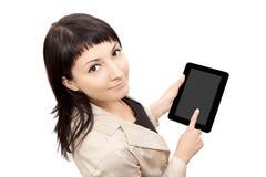 Mujer del ordenador de la tablilla imagen de archivo