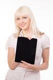 Mujer del ordenador de la tablilla Foto de archivo