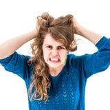 Mujer del pánico con las manos en la cabeza Foto de archivo libre de regalías