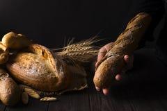 Mujer del panadero que sostiene la barra de pan orgánica rústica en manos - panadería rural Luz natural, aún vida cambiante Imágenes de archivo libres de regalías