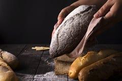Mujer del panadero que sostiene la barra de pan orgánica rústica en manos - panadería rural Luz natural, aún vida cambiante Fotografía de archivo libre de regalías