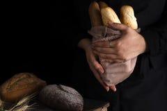 Mujer del panadero que sostiene la barra de pan orgánica rústica en manos - panadería rural Luz natural, aún vida cambiante Foto de archivo