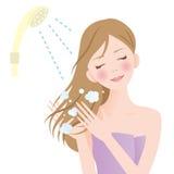 Mujer del pelo de la ducha Fotografía de archivo