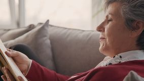 Mujer del pensionista que sostiene el libro interesante en sus manos almacen de metraje de vídeo