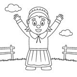 Mujer del peregrino de la acción de gracias del colorante ilustración del vector