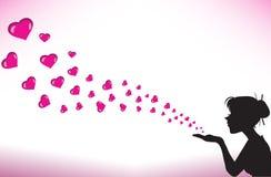 Mujer del perfil con los corazones stock de ilustración