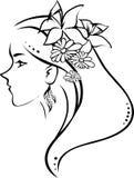Mujer del perfil del símbolo stock de ilustración