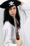 Mujer del pirata con el arma Foto de archivo libre de regalías