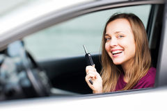 Mujer del programa piloto de coche Fotos de archivo libres de regalías