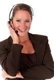 Mujer del puesto de informaciones que comunica Imagen de archivo