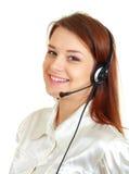 Mujer del receptor de cabeza del centro de atención telefónica Foto de archivo