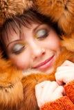 Mujer del retrato en ropa caliente Imagenes de archivo