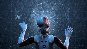 Mujer del robot, mujer de la ciencia ficci?n ilustración del vector