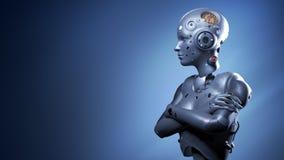 Mujer del robot, inteligencia artificial de la mujer de la ciencia ficci?n stock de ilustración