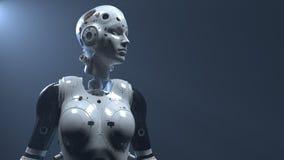 Mujer del robot, mundo digital de la mujer de la ciencia ficci?n del futuro de redes neuronales y el artificial imágenes de archivo libres de regalías