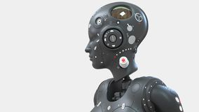 Mujer del robot, mundo digital de la mujer de la ciencia ficci?n del futuro de redes neuronales y el artificial ilustración del vector