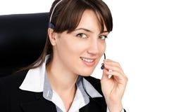 Mujer del servicio de atención al cliente Foto de archivo libre de regalías
