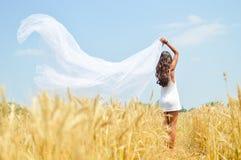 Mujer del soñador en el campo de trigo Foto de archivo