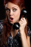 Mujer del teléfono de la vendimia Fotografía de archivo libre de regalías