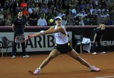 Mujer del tenis en la acción Fotos de archivo libres de regalías