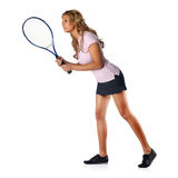 Mujer del tenis que aguarda servicio Foto de archivo