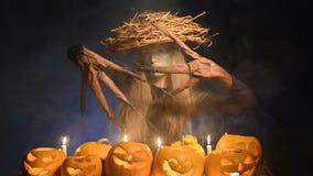 Mujer del traje de Halloween, muchacha del árbol con las calabazas metrajes