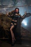 Mujer del vampiro Retrato atractivo de señora Halloween del vampiro del encanto hermoso Imagen de archivo libre de regalías