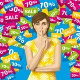 Mujer del vector con secreto stock de ilustración