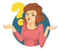 Mujer del vector con un signo de interrogación Dudas de la muchacha Foto de archivo